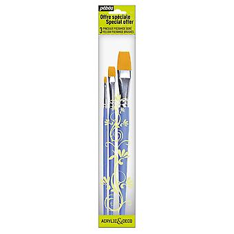Pebeo Acrylic & Deco Set of 3 Flat Brushes