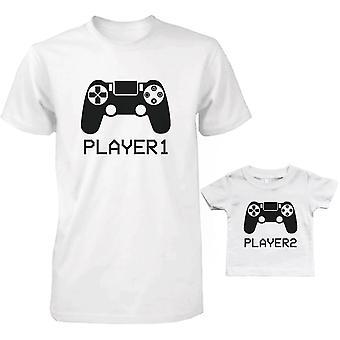 プレイヤー 1 と 2 のパパとベビーのお揃いの t シャツ