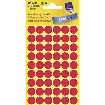 Avery-Zweckform 3141 plakkerige stippen Ø 12 mm rood 270 PC (s) permanent papier
