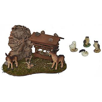 Feed rack with deer family and owls for Nativity scene Christmas Nativity stable Nativity accessories