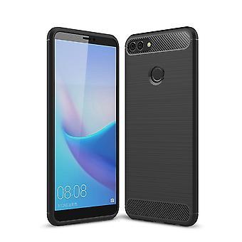 Huawei Y9 2018 kansi silikoni black carbon look TPU mobiili kattaa sekä puskurin 211757