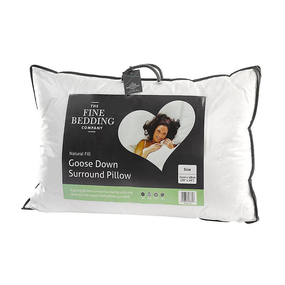 The Fine Bedding Company Luxury Goose Down Surround Pillow Cotton Medium Support