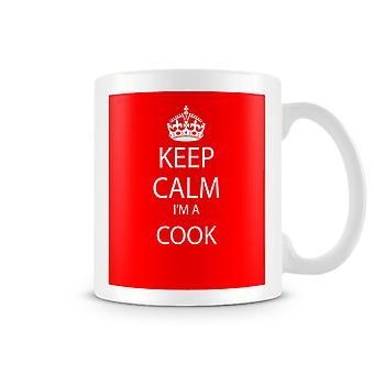Behåll lugn jag är en Cook tryckt mugg