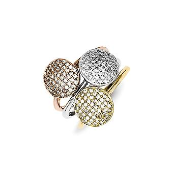 925 Sterling Silver Rhodium-plated Micro Pave Gold-Flashed Polished Trio Stackable Ring - Ring Size: 7 to 8