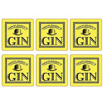 Gentleman's Gin Set of 6 Coasters, Lemon