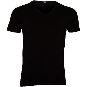 Spille klassiske strekke bomull v-hals t-skjorte, svart