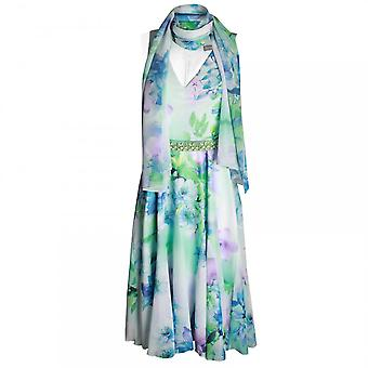 Michaela Louisa A Line Floral Print Dress With Scarf
