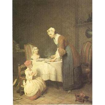 Le Benedicite (Dire Grace), Jean Baptiste Siméon Chardin, 50x39cm