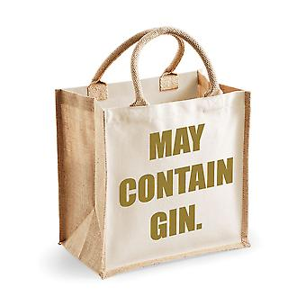 Medium Jute Bag May Contain Gin Natural Bag Gold Text