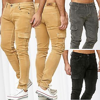 Mens Cargo Pants Cord Trousers Casual Slim Fit Outdoor Velvet Look Velour Optics