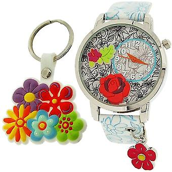 Tijd Design meisjes 3D ontwerp Dial Analgoue Watch charme & Keyring Gift Set TDX4526