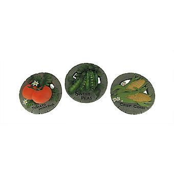 Garden Vegetables Cement Round Stepping Stones Set of 3