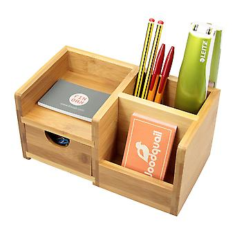 Woodquail Bamboo Desk Organiser, Pen Holder and Drawer Desk Tidy of 4 Compartments