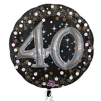 Anagram Supershape Sparkling 40th Birthday Balloon
