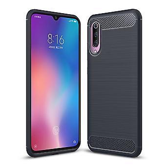 Xiaomi MI 9 TPU case carbon fiber optics brushed protective case Blue