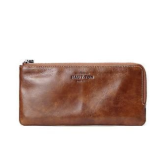 """Hautton Leather Tan Clutch Style Wallet 8.5"""" Central Zip Compartment Carry Handle"""