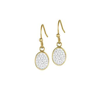Eternal Collection Belgravia Diamante Crystal Stainless Steel Gold Tone Drop Pierced Earrings