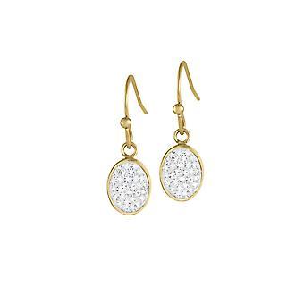 Éternelle Collection Belgravia Diamante cristal en acier inoxydable couleur or Drop boucles d'oreilles