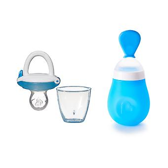 Munchkin Baby Feeding Bundle Squeeze Presser Spoon & Baby Food Feeder Blue