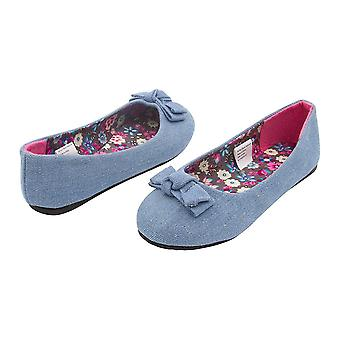 Sara Z Girls Solid Denim Ballet Flats With Solid Denim Bow Light