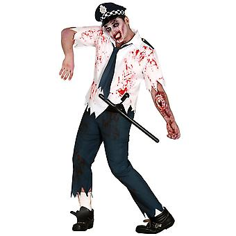 Volwassenen mens Zombie politieagent Halloween fancy dress kostuum