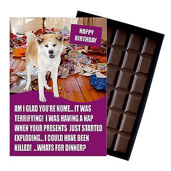 Akita Inu śmieszne prezenty urodzinowe dla miłośnika psów Box czekolada powitanie karty prezent