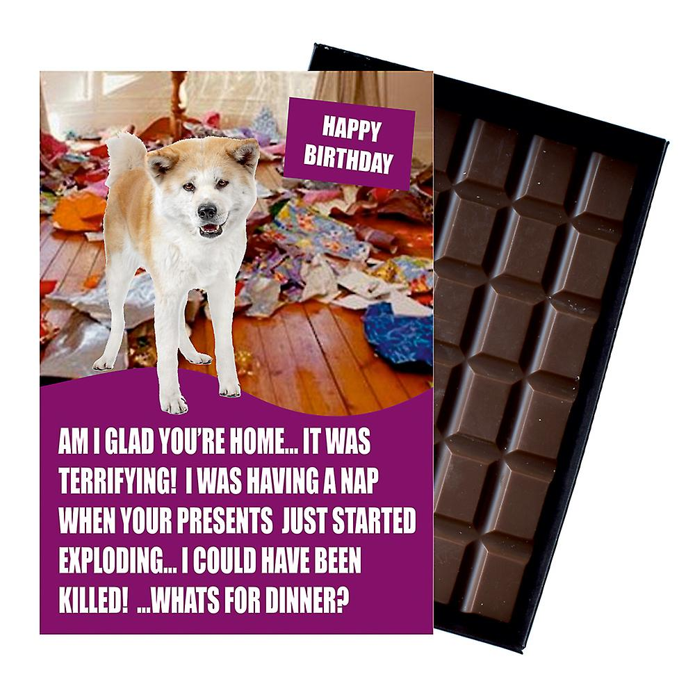 Akita Inu Funny Birthday Gifts For Dog Lover Boxed Chocolate Greeting Card Present