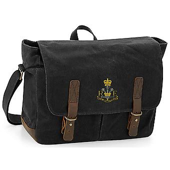 Royal Monmouthshire Royal Engineer - Licensed British Army Embroidered Waxed Canvas Messenger Bag