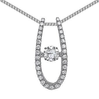 Jewelco London Rhodium Plated Sterling Silver Round Brilliant Cubic Zirconia Solitaire Pendant Necklace 18 inch