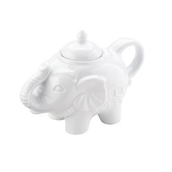 Bia Elephant forma Blingaphant portelan zahar ghiveci cu capac, alb