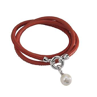 Adriana L1-rot - Women's Parure - sterling silver 925 and leather - 550 mm