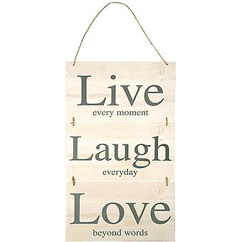 Live Every Moment Laugh Everyday Love Beyond Words Wooden Hanging Plaque