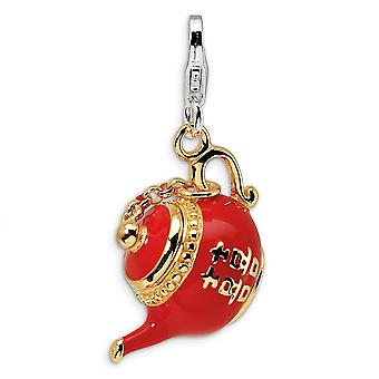 925 Sterling Silver Moveable Rhodium plated Fancy Lobster Closure Gold Flashed Red Enameled Tea Pot With Lobster Clasp C