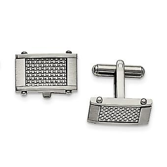 Stainless Steel Brushed Polished Grey Carbon Fiber Rectangle Cuff Links Jewelry Gifts for Men
