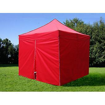 Faltzelt FleXtents PRO 3x3m Rot, mit 4 Seitenwänden