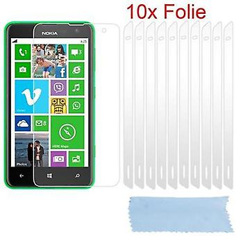 Cadorabo Screen Protectors for Nokia Lumia 625 - Protective films in HIGH CLEAR - 10 pieces of highly transparent protective films against dust, dirt and scratches