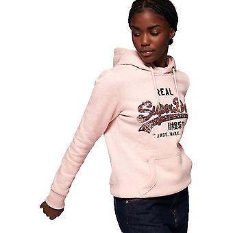 Superdry Vintage Logo Sequin Outline Hoodie Pink 13