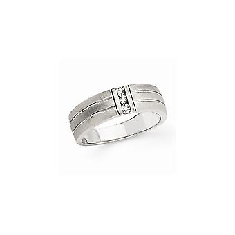 14k White Gold Diamond Mens Band Ring Jewelry Gifts for Men - .12 dwt