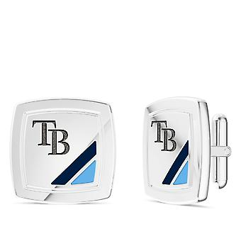 Tampa Bay Rays Rays Enamel Cuff Links In Dark Blue and Light Sky Blue In Sterling Silver