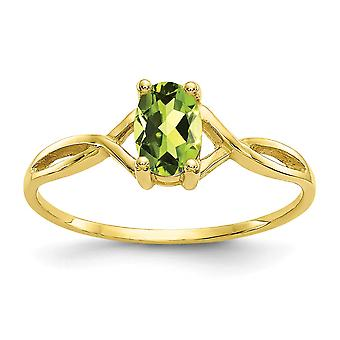 10k Yellow Gold ovale Prong instellen gepolijst Peridot Ring - Size 6