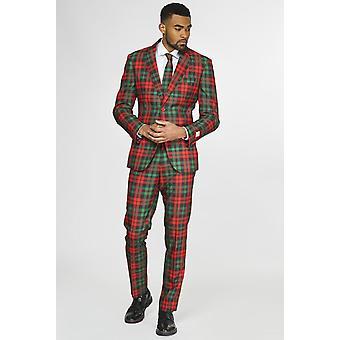 Trendy Tartan Plaid Christmas Suit Suit Christmas Suit Slimline Men's 3-Piece Premium