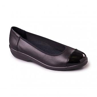 Padders Fearne Ladies Leather Extra Wide (2e) Pumps Black Patent