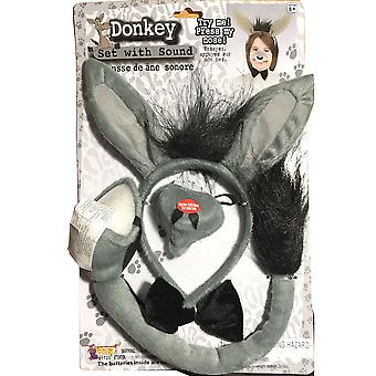 Donkey Animal Set Ear Nose Tail Book Week Boys Girls Costume Kit with Sound