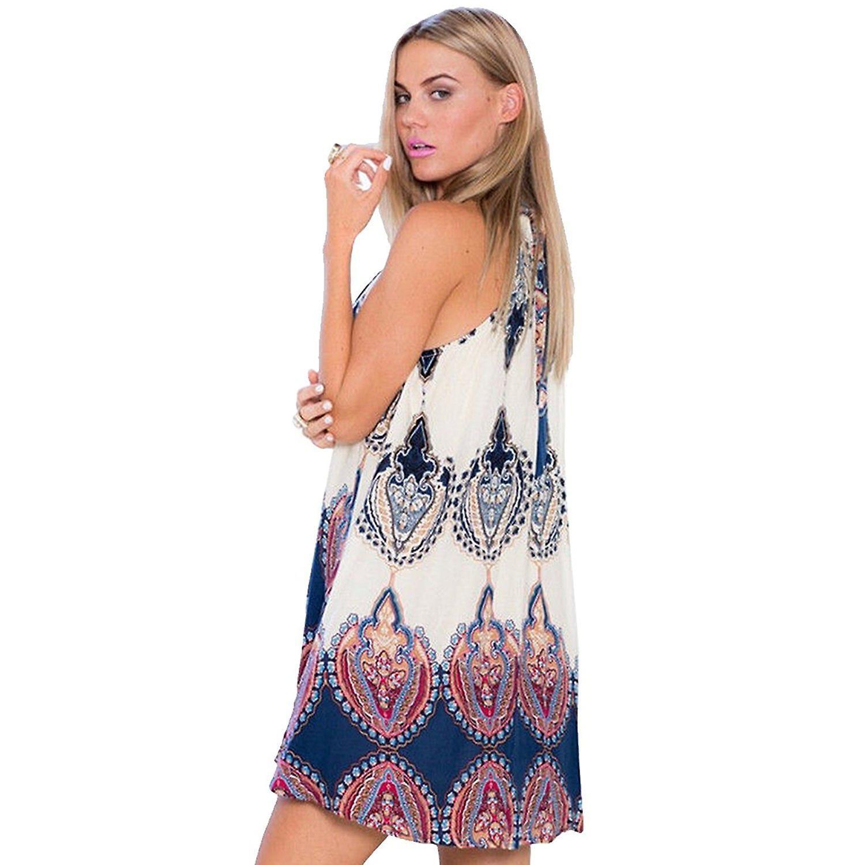 Ladies hot fashion sleeveless tunic a-line halter neck printed flower dress top