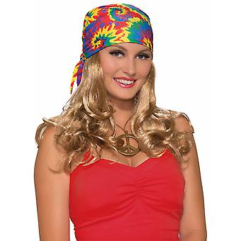Hippie 1970s Flower Child Blonde Women Costume Wig and Head Scarf