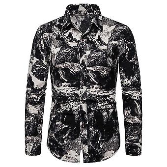 Allthemen mænd ' s casual retro revers mønstrede langærmet skjorte top