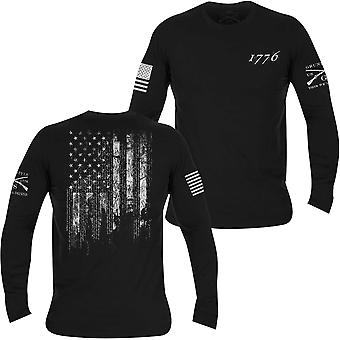 Grunt stil 1776 flagg langermet T-skjorte-svart