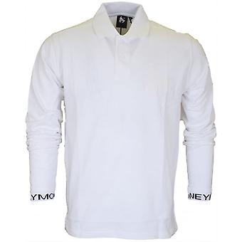 Money Clothing Intarsia Long Sleeve White Polo