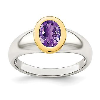 925 Sterling Silver With 14k Accent Amethyst Oval Ring Jewelry Gifts for Women - Ring Size: 6 to 8