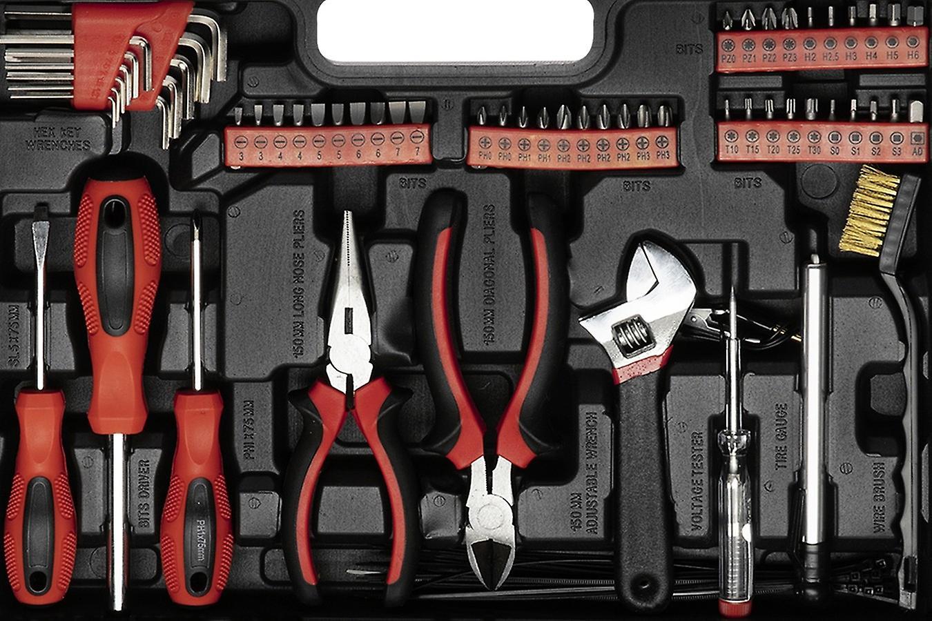 WOLFGANG 122 Parts Tool Case with Tool Set, Wrench Set, Ratchet, Socket Set, Screwdriver, Bitset, Toolbox for Household, Car, Workshop